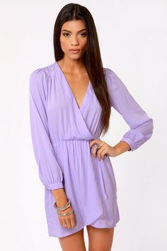 Thats a Wrap Lavender Long Sleeve Dress