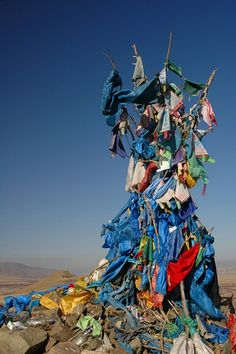 Mongolian Ovoo. Ovoo is type of shamanistic cairn in the Gobi Desert, Mongolia