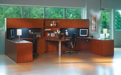 The Office Leader. Transitional Lamimate Mayline Aberdeen 2 Person  Workstation, Peninsula Office Desk Workstation With Overhead Storage