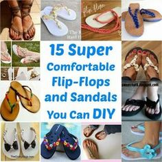15 Super Comfortable Flip-Flops and Sandals You Can DIY – DIY Crafts Some of these are cute for the beach/pool Comfortable Flip Flops, Do It Yourself Furniture, Diy Vetement, Style Japonais, Diy Accessories, Diy Clothing, Flip Flop Sandals, Fun Projects, Diy Fashion