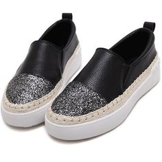 SheIn(sheinside) Black PU Slip On Cap Toe Espadrille Flats (2.030 RUB) ❤ liked on Polyvore featuring shoes, flats, slip-on shoes, black sequin shoes, sequin flats, black sequin flats and flat shoes