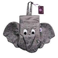 Lixinho para carro acolchoado, feito de tecidos de algodão, em formato de elefante. Uma graça e ainda deixa seu carro organizado e livre da bagunça e sujeira!
