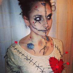 Voodoo doll makeup Voodoo Doll Halloween Costume, Voodoo Doll Makeup, Voodoo Dolls, Vodoo