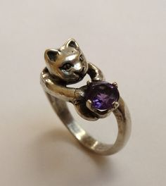 Sterling Silver Three-dimensional Cat Ring with 6mm Round Faceted Purple Amethyst Gemstone February Birthstone on Etsy, $64.00