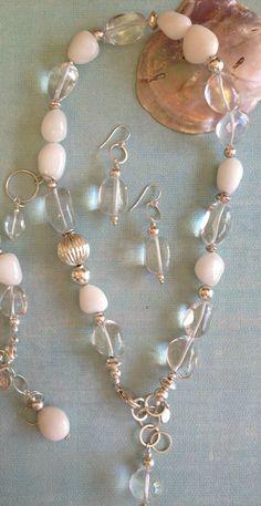 Quartz Crystal  and  White Chalcedony Nugget by PoshDesignsJewelry, $249.00