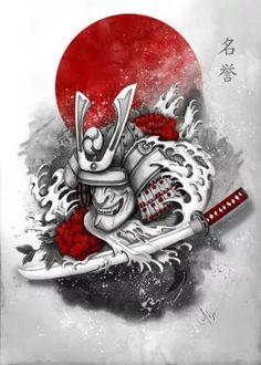 print on metal Illustration samurai honor warrior red katana