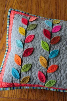 Where Trendy meets Traditional Quilting, by Designer Heather Mulder Peterson of Anka& Treasures Applique Pillows, Felt Applique, Sewing Pillows, Diy Pillows, Felt Flower Pillow, Felt Pillow, Quilted Pillow, Felt Crafts, Fabric Crafts
