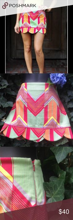 """Anthropologie Judith March Aztec/Scalloped Skirt S Excellent condition. Waist 15"""", Length 13"""". Zipper Side. Anthropologie Skirts"""