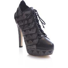 Chrissie Morris Rosanna lizard lace-up boots ($455) ❤ liked on Polyvore
