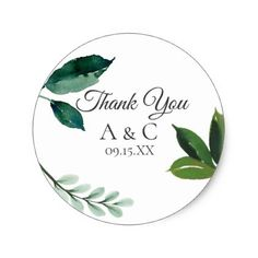 Modern Green Leaf Classic Round Sticker - wedding stickers unique design cool sticker gift idea marriage party