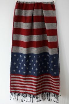 Long Stars and Stripes Detail Scarf $41