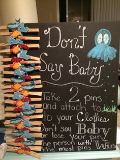 """Don't say baby"" game. Ocean themed shower"