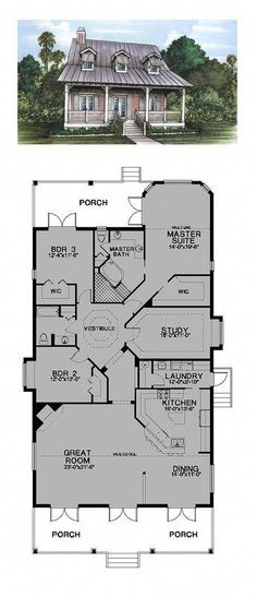 Florida Cracker Style COOL House Plan ID: Total Living Area: 2535 sq., 3 bedrooms and 2 bathrooms. Best House Plans, Dream House Plans, Small House Plans, House Floor Plans, My Dream Home, Dream Houses, 3 Bedroom Home Floor Plans, Cottage Style House Plans, Crazy Houses