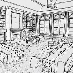 Concept sketch for a living room layout for a project in palm beach #garrowkedigian #interiordesign #handdrawn #conceptsketch #furnitureplan #furniturelayout #livingroom #livingrooms #interiorrendering #frenchdoors #sofa #sofas #coffeetable #mantle #fireplace #lantern #sofatable #builtinbookcases #builtincabinetry #bookshelves #palmbeach #palmbeachdesign #decorating