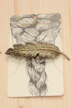 Boho Feather Gold Hair Pin Barrette