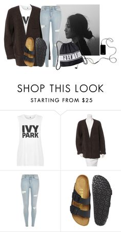 """""""Untitled #1441"""" by noka76 ❤ liked on Polyvore featuring Topshop, Rochas, River Island, Birkenstock and Monki"""