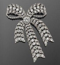 Old European Cut Diamond Filigree Bow Brooch, ca. 1910
