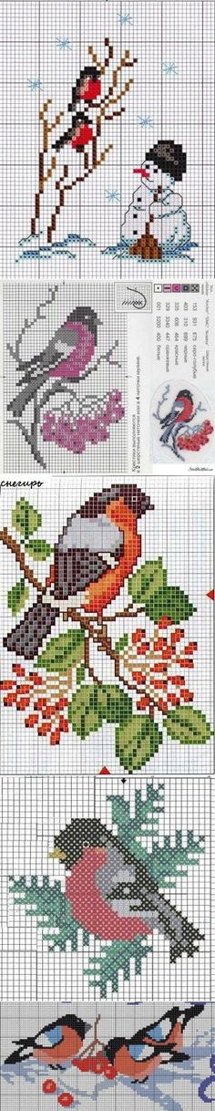 snowman and birds Cross Stitch Cards, Cross Stitch Flowers, Cross Stitching, Cross Stitch Embroidery, Cross Stitch Designs, Cross Stitch Patterns, Theme Noel, Christmas Embroidery, Knitting Charts