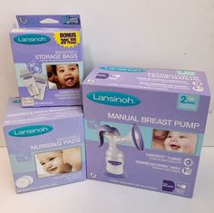 NEW Lansinoh Manual Breast Pump +60 Milk Storage Bags+36 Disposable Nursing Pads #Lansinoh