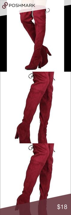 Wild Diva GK96 Women Faux Suede Thigh High Drawstr Wild Diva GK96 Women Faux Suede Thigh High Drawstring Chunky Heel Boot - Size: Burgundy color Wild Diva Shoes Over the Knee Boots
