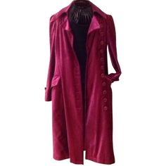 Pre-owned Bergdorf Goodman Trench Coat ($459) ❤ liked on Polyvore featuring outerwear, coats, none, purple trench coat, fur-lined coats, velvet coat, military style trench coat and purple velvet coat