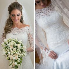 Cheap Wedding Dresses, Buy Directly from China Suppliers: Beautiful Lace Long Sleeves Wedding Dress 2015 Hot vestidos de novia A line Bridal Wedding Dress Free Shipping