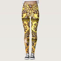 yellow brown long leggings teenager