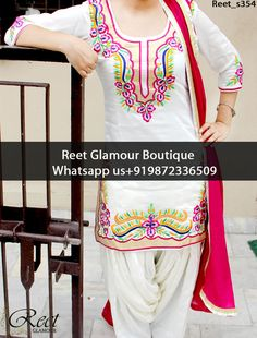 Charming White And Magenta Embroidered Punjabi Suit Product Code : Reet_s354 To Order, Call/Whats app On +919872336509 We Offer Huge Variety Of Punjabi Suits, Anarkali Suits, Lehenga Choli, Bridal Suits,Sari, Gowns Etc .We Can Also Design Any Suit Of Your Own Design And Any Color Combination.