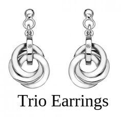 Stunning #Silver #Trioearrings   Visit to #hotdiamonds for Shop oniine #diamondhoopearrings