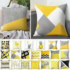 Yellow Polyester Pillow Case Sofa Car Waist Throw Cushion Covers Home Decoration Yellow Cushion Covers, Cheap Cushion Covers, Yellow Cushions, Sofa Cushion Covers, Cushions On Sofa, Cushion Pillow, Geometric Cushions, Geometric Throws, Geometric Pillow