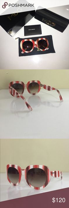 Dolce & Gabbana stiped sunglasses Valentine's Day style!!!! 💕❤️                                     Brand new, never worn, with box, authenticity cards, dust bag, and case. Dolce & Gabbana Accessories Sunglasses