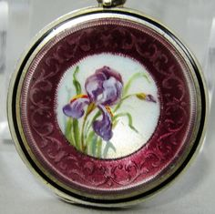 Antique French Sterling Silver Guilloche Enamel Locket Miniature Flower Painting