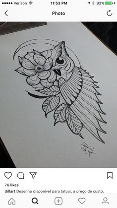 Owl Tattoo Design Ideas The Best Collection Top Rated Stylish Trendy Tattoo Designs Ideas For Girls Women Men Biggest New Tattoo Images Archive Owl Tattoo Drawings, Doodle Art Drawing, Cool Art Drawings, Pencil Art Drawings, Tattoo Sketches, Drawing Sketches, Doodling Art, Owl Tattoo Design, Mandala Tattoo Design