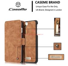 CaseMe 007 iPhone 7 Plus Zipper Wallet Detachable 2 in 1 Flip Case Brown
