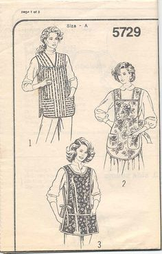Missing the envelope, so unsure of date of even manufacturer. Newer style pattern pieces though. Apron Pattern Free, Vintage Apron Pattern, Aprons Vintage, Vintage Patterns, Sewing Patterns, Apron Patterns, Sewing Aprons, Sewing Clothes, Sewing Crafts