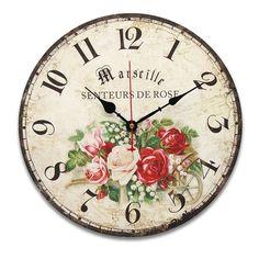 34cm Vintage Wall Clocks Antique Flavour Kitchen Retro Style Shabby Chic Home Cafe Decor