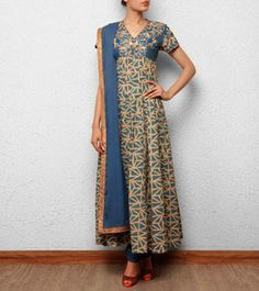 Blue Kora Cotton Churidar Suit with Hand Embroidery