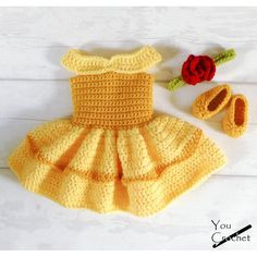 Crochet Dolls Patterns Beauty and the Beast Belle Dress Set Crochet Patterns - The cutest princess costume for your little one! Crochet Baby Costumes, Crochet Baby Clothes, Crochet Dolls, Crochet Dresses, Crochet Baby Outfits, Princess Belle Dress, Disney Princess Dresses, Baby Princess Costume, Crochet Princess