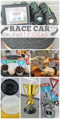 What a fun race car birthday for two young boys with tire shaped drinks, cupcakes and trophy favors!  See more party ideas at CatchMyParty.com!
