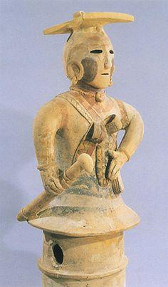 The Kofun period art,Haniwa terracotta clay figure. The shrine maiden who has the sword.  Gunma Japan.