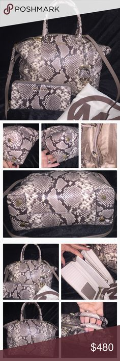 Michael Kors Riley Snake Bag purse wallet large Authentic! Large Riley Satchel with Crossbody strap. XL travel wallet! No flaws. Very lightly used. Gold hardware. Michael Kors Bags Satchels