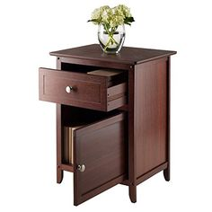 Night Stand/ Accent Table with Drawer and Cabinet for Storage, Antique Walnut