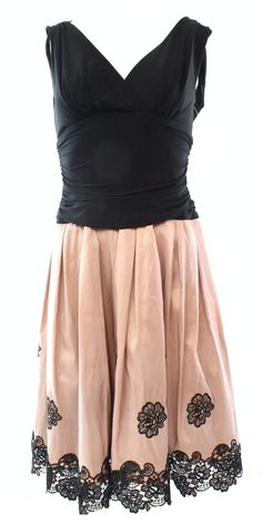 S.L. Fashions NEW Black Rose Women's 10 Scalloped Ruched Pleated Dress $109
