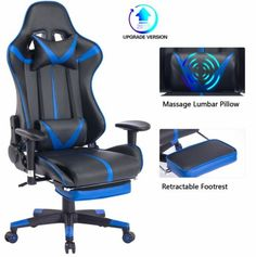 Top quality Reclining office chairs with footrest for relaxing your back during long hour job Gamer Chair, Reclining Office Chair, Intense Games, Sitting Posture, High Back Chairs, Bedroom Night Stands, Ergonomic Chair, Blue Whale, Day Work