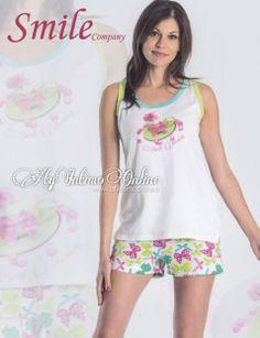 #pigiamidonna #pigiamini #pigiama Freschezza ed allegria con i pigiami della collezione Smile! Canottierina a spalla larga con pantaloncino corto in morbido cotone.  http://www.atyintimoonline.it/159-pigiami-donna-estivi