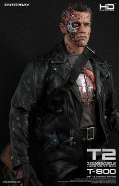 Enterbay is proud to present the T-800 (Battle Damaged Edition) HD Masterpiece quarter scale figurine from the movie Terminator 2: Judgment Day. The figure is based on the battle damaged Arnold Schwarzenegger as T-800 in the movie, featuring newly developed head sculpts with lit-up LED eyeball, advanced HD masterpiece muscular body, movie accurate battle damaged costume, as well as other detailed weapons and accessories. $399.99