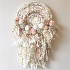 Pom Pom Dream Catcher - fiber art textile home decor gifts woven unique dreamcatcher bohemian hygge boho wall art weave tapestry modern giftLarge dream catcher with Pom poms and tassels! Made in colours dusky pink… Weaving Projects, Weaving Art, Loom Weaving, Tapestry Weaving, Hand Weaving, Diy Projects, Pom Pom Crafts, Yarn Crafts, Sewing Crafts