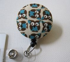 Swivel Clip Badge Reel in Wee Owls by rockitbot on Etsy, $6.50