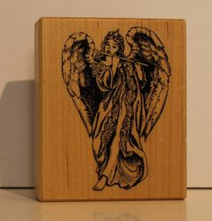 RARE Angel with Flute rubber stamp PSX by PollysPlace on Etsy