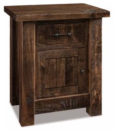 Amish Rough Sawn Brown Maple Wood Vandella 1 Drawer, 1 Door Nightstand The thick posts and top add to the strong rustic character of the Vandella. Made with brown maple wood that looks just as pretty as cherry wood, but costs less! Custom options include a touch nightlight, slide out water tray and much more. #nightstand #rusticbedroom